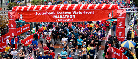 Large group of people at the start line of the Scotiabank Marathon in Toronto